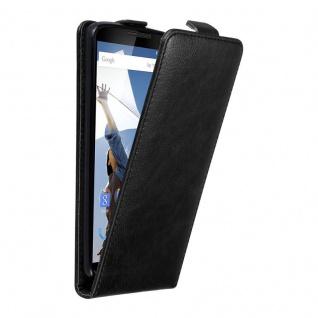 Cadorabo Hülle für Motorola NEXUS 6 in NACHT SCHWARZ Handyhülle im Flip Design mit unsichtbarem Magnetverschluss Case Cover Schutzhülle Etui Tasche Book Klapp Style
