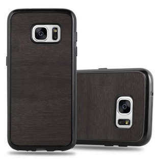 Cadorabo Hülle für Samsung Galaxy S7 in WOODEN SCHWARZ ? Handyhülle aus flexiblem TPU Silikon ? Silikonhülle Schutzhülle Ultra Slim Soft Back Cover Case Bumper