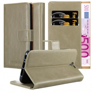 Cadorabo Hülle für HTC One A9 in CAPPUCCINO BRAUN ? Handyhülle mit Magnetverschluss, Standfunktion und Kartenfach ? Case Cover Schutzhülle Etui Tasche Book Klapp Style
