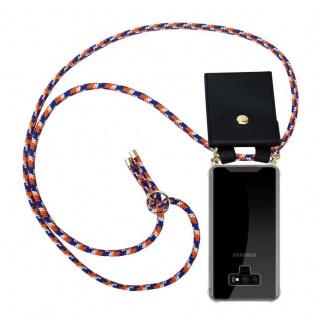 Cadorabo Handy Kette für Samsung Galaxy NOTE 9 in ORANGE BLAU WEISS - Silikon Necklace Umhänge Hülle mit Gold Ringen, Kordel Band Schnur und abnehmbarem Etui ? Schutzhülle