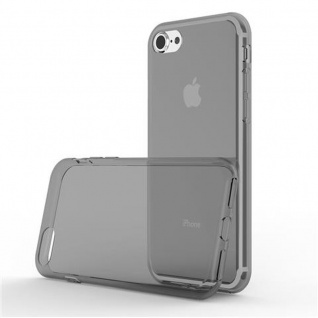 Cadorabo Hülle für Apple iPhone 7 / iPhone 7S / iPhone 8 in TRANSPARENT SCHWARZ - Handyhülle aus flexiblem TPU Silikon - Silikonhülle Schutzhülle Ultra Slim Soft Back Cover Case Bumper