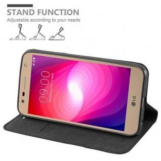 Cadorabo Hülle für LG X POWER 2 in NACHT SCHWARZ - Handyhülle mit Magnetverschluss, Standfunktion und Kartenfach - Case Cover Schutzhülle Etui Tasche Book Klapp Style - Vorschau 4