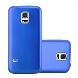 Cadorabo Hülle für Samsung Galaxy S5 MINI / S5 MINI DUOS in METALLIC BLAU - Handyhülle aus flexiblem TPU Silikon - Silikonhülle Schutzhülle Ultra Slim Soft Back Cover Case Bumper