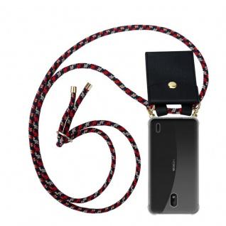Cadorabo Handy Kette für Nokia 1 PLUS in ROT BLAU GELB - Silikon Necklace Umhänge Hülle mit Gold Ringen, Kordel Band Schnur und abnehmbarem Etui ? Schutzhülle