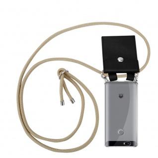 Cadorabo Handy Kette für Huawei NOVA in GLÄNZEND BRAUN - Silikon Necklace Umhänge Hülle mit Silber Ringen, Kordel Band Schnur und abnehmbarem Etui - Schutzhülle