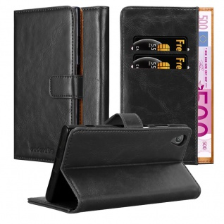 Cadorabo Hülle für Sony Xperia XA1 in GRAPHIT SCHWARZ ? Handyhülle mit Magnetverschluss, Standfunktion und Kartenfach ? Case Cover Schutzhülle Etui Tasche Book Klapp Style