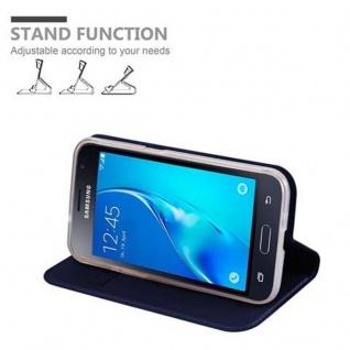 Cadorabo Hülle für Samsung Galaxy J1 2016 in CLASSY DUNKEL BLAU - Handyhülle mit Magnetverschluss, Standfunktion und Kartenfach - Case Cover Schutzhülle Etui Tasche Book Klapp Style - Vorschau 4