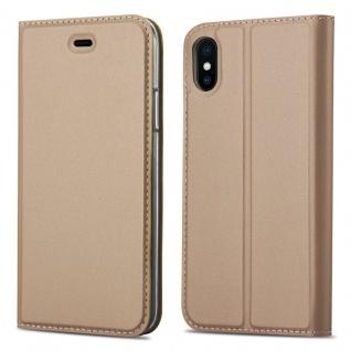 Cadorabo Hülle für Apple iPhone X / XS in CLASSY GOLD - Handyhülle mit Magnetverschluss, Standfunktion und Kartenfach - Case Cover Schutzhülle Etui Tasche Book Klapp Style