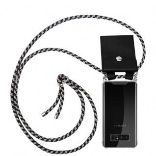 Cadorabo Handy Kette für Samsung Galaxy NOTE 8 in DUNKELBLAU GELB Silikon Necklace Umhänge Hülle mit Silber Ringen, Kordel Band Schnur und abnehmbarem Etui Schutzhülle