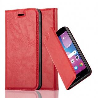 Cadorabo Hülle für Huawei Y6 PRO 2017 in APFEL ROT - Handyhülle mit Magnetverschluss, Standfunktion und Kartenfach - Case Cover Schutzhülle Etui Tasche Book Klapp Style