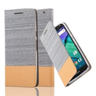 Cadorabo Hülle für Motorola MOTO X STYLE in HELL GRAU BRAUN - Handyhülle mit Magnetverschluss, Standfunktion und Kartenfach - Case Cover Schutzhülle Etui Tasche Book Klapp Style