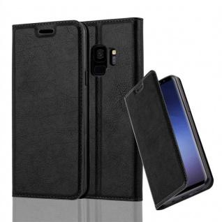 Cadorabo Hülle für Samsung Galaxy S9 in NACHT SCHWARZ Handyhülle mit Magnetverschluss, Standfunktion und Kartenfach Case Cover Schutzhülle Etui Tasche Book Klapp Style