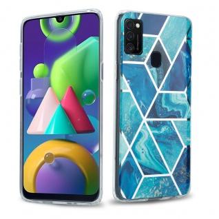 Cadorabo Hülle für Samsung Galaxy M21 / M30s Hülle in Blaue Welle Marmor No.13 Handyhülle aus TPU Silikon mit Muster Mosaik Silikonhülle Schutzhülle Ultra Slim Back Cover Case Bumper