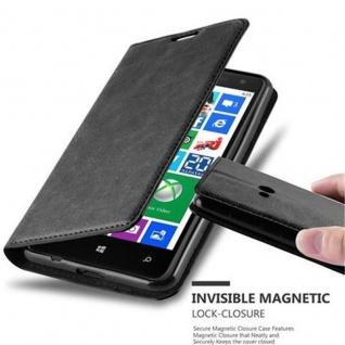 Cadorabo Hülle für Nokia Lumia 625 in NACHT SCHWARZ Handyhülle mit Magnetverschluss, Standfunktion und Kartenfach Case Cover Schutzhülle Etui Tasche Book Klapp Style