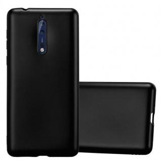 Cadorabo Hülle für Nokia 8 2017 in METALLIC SCHWARZ - Handyhülle aus flexiblem TPU Silikon - Silikonhülle Schutzhülle Ultra Slim Soft Back Cover Case Bumper