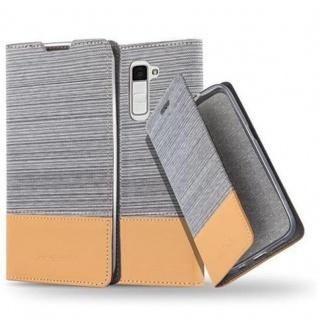 Cadorabo Hülle für LG K10 2016 in HELL GRAU BRAUN - Handyhülle mit Magnetverschluss, Standfunktion und Kartenfach - Case Cover Schutzhülle Etui Tasche Book Klapp Style