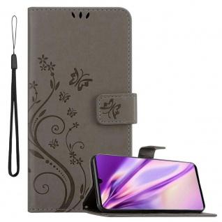 Cadorabo Hülle für Huawei P30 in FLORAL GRAU Handyhülle im Blumen Design mit Magnetverschluss, Standfunktion und 3 Kartenfächern Case Cover Schutzhülle Etui Tasche