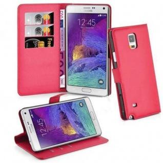 Cadorabo Hülle für Samsung Galaxy NOTE 4 in KARMIN ROT Handyhülle mit Magnetverschluss, Standfunktion und Kartenfach Case Cover Schutzhülle Etui Tasche Book Klapp Style