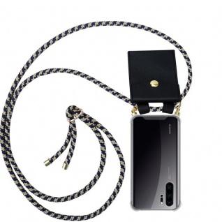 Cadorabo Handy Kette für Huawei P30 PRO in DUNKELBLAU GELB - Silikon Necklace Umhänge Hülle mit Gold Ringen, Kordel Band Schnur und abnehmbarem Etui ? Schutzhülle