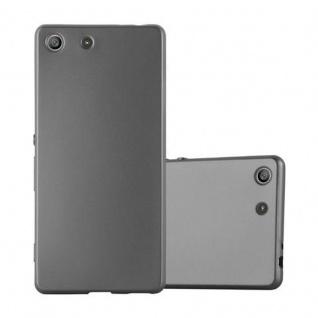 Cadorabo Hülle für Sony Xperia M5 - Hülle in METALLIC GRAU ? Handyhülle aus TPU Silikon im Matt Metallic Design - Ultra Slim Soft Backcover Case Bumper