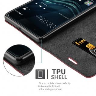 Cadorabo Hülle für Huawei P9 PLUS in APFEL ROT Handyhülle mit Magnetverschluss, Standfunktion und Kartenfach Case Cover Schutzhülle Etui Tasche Book Klapp Style - Vorschau 3