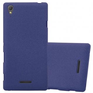 Cadorabo Hülle für Sony Xperia T3 in FROST DUNKEL BLAU - Handyhülle aus flexiblem TPU Silikon - Silikonhülle Schutzhülle Ultra Slim Soft Back Cover Case Bumper