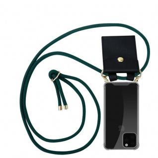 Cadorabo Handy Kette für Apple iPhone 11 PRO MAX (XI PRO MAX) in ARMEE GRÜN - Silikon Necklace Umhänge Hülle mit Gold Ringen, Kordel Band Schnur und abnehmbarem Etui - Schutzhülle