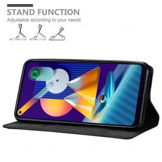 Cadorabo Hülle für Samsung Galaxy M11 in NACHT SCHWARZ Handyhülle mit Magnetverschluss, Standfunktion und Kartenfach Case Cover Schutzhülle Etui Tasche Book Klapp Style