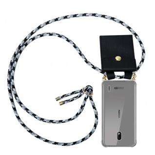 Cadorabo Handy Kette für Nokia 2.2 in SCHWARZ CAMOUFLAGE - Silikon Necklace Umhänge Hülle mit Gold Ringen, Kordel Band Schnur und abnehmbarem Etui ? Schutzhülle