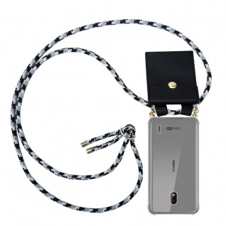 Cadorabo Handy Kette für Nokia 2.2 in SCHWARZ CAMOUFLAGE Silikon Necklace Umhänge Hülle mit Gold Ringen, Kordel Band Schnur und abnehmbarem Etui Schutzhülle