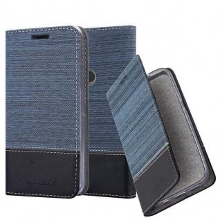Cadorabo Hülle für WIKO VIEW 2 PRO in DUNKEL BLAU SCHWARZ - Handyhülle mit Magnetverschluss, Standfunktion und Kartenfach - Case Cover Schutzhülle Etui Tasche Book Klapp Style