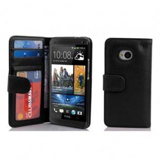 Cadorabo Hülle für HTC ONE M7 (1. Gen.) in OXID SCHWARZ - Handyhülle mit Magnetverschluss und 3 Kartenfächern - Case Cover Schutzhülle Etui Tasche Book Klapp Style