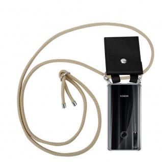 Cadorabo Handy Kette für Honor 20e in GLÄNZEND BRAUN Silikon Necklace Umhänge Hülle mit Silber Ringen, Kordel Band Schnur und abnehmbarem Etui Schutzhülle