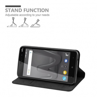 Cadorabo Hülle für WIKO LENNY 4 in NACHT SCHWARZ - Handyhülle mit Magnetverschluss, Standfunktion und Kartenfach - Case Cover Schutzhülle Etui Tasche Book Klapp Style - Vorschau 3