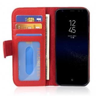 Cadorabo Hülle für Samsung Galaxy S8 in INFERNO ROT Handyhülle mit Magnetverschluss und 3 Kartenfächern Case Cover Schutzhülle Etui Tasche Book Klapp Style