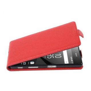 Cadorabo Hülle für Sony Xperia Z5 in INFERNO ROT - Handyhülle im Flip Design aus strukturiertem Kunstleder - Case Cover Schutzhülle Etui Tasche Book Klapp Style