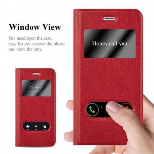 Cadorabo Hülle für Apple iPhone 7 / iPhone 7S / iPhone 8 in SAFRAN ROT - Handyhülle mit Magnetverschluss, Standfunktion und 2 Sichtfenstern - Case Cover Schutzhülle Etui Tasche Book Klapp Style - Vorschau 2
