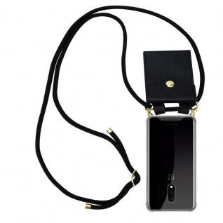 Cadorabo Handy Kette für OnePlus 7 in SCHWARZ Silikon Necklace Umhänge Hülle mit Gold Ringen, Kordel Band Schnur und abnehmbarem Etui Schutzhülle