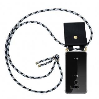 Cadorabo Handy Kette für LG G8 ThinQ in SCHWARZ CAMOUFLAGE - Silikon Necklace Umhänge Hülle mit Gold Ringen, Kordel Band Schnur und abnehmbarem Etui ? Schutzhülle