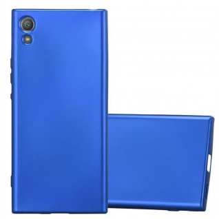 Cadorabo Hülle für Sony Xperia XA1 in METALLIC BLAU - Handyhülle aus flexiblem TPU Silikon - Silikonhülle Schutzhülle Ultra Slim Soft Back Cover Case Bumper