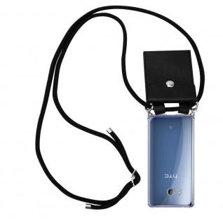 Cadorabo Handy Kette für HTC Ocean / U11 in SCHWARZ - Silikon Necklace Umhänge Hülle mit Silber Ringen, Kordel Band Schnur und abnehmbarem Etui - Schutzhülle