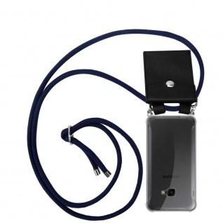 Cadorabo Handy Kette für Samsung Galaxy XCover 4 / XCover 4S in TIEF BLAU Silikon Necklace Umhänge Hülle mit Silber Ringen, Kordel Band Schnur und abnehmbarem Etui Schutzhülle