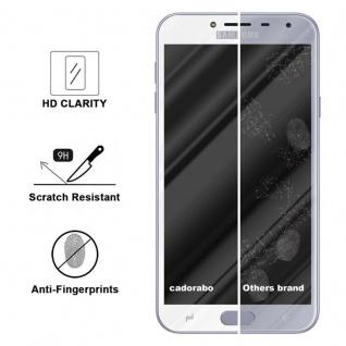 Cadorabo Vollbild Panzer Folie für Samsung Galaxy J4 2018 - Schutzfolie in TRANSPARENT mit WEISS - Gehärtetes (Tempered) Display-Schutzglas in 9H Härte mit 3D Touch Kompatibilität - Vorschau 3