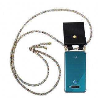 Cadorabo Handy Kette für LG Q60 in RAINBOW - Silikon Necklace Umhänge Hülle mit Gold Ringen, Kordel Band Schnur und abnehmbarem Etui ? Schutzhülle