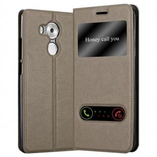 Cadorabo Hülle für Huawei MATE 8 in STEIN BRAUN ? Handyhülle mit Magnetverschluss, Standfunktion und 2 Sichtfenstern ? Case Cover Schutzhülle Etui Tasche Book Klapp Style