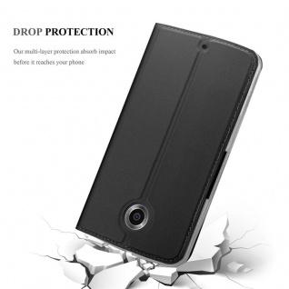 Cadorabo Hülle für Motorola NEXUS 6 in CLASSY SCHWARZ - Handyhülle mit Magnetverschluss, Standfunktion und Kartenfach - Case Cover Schutzhülle Etui Tasche Book Klapp Style - Vorschau 5