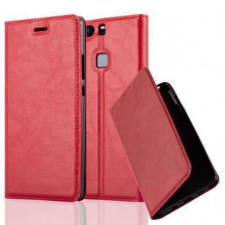 Cadorabo Hülle für Huawei P9 PLUS in APFEL ROT - Handyhülle mit Magnetverschluss, Standfunktion und Kartenfach - Case Cover Schutzhülle Etui Tasche Book Klapp Style