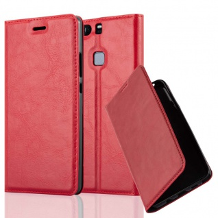 Cadorabo Hülle für Huawei P9 PLUS in APFEL ROT Handyhülle mit Magnetverschluss, Standfunktion und Kartenfach Case Cover Schutzhülle Etui Tasche Book Klapp Style
