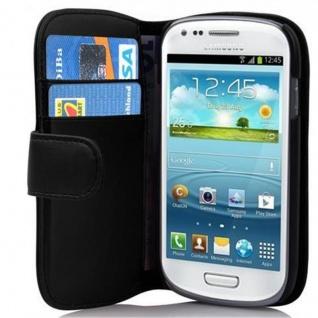 Cadorabo Hülle für Samsung Galaxy S3 MINI - Hülle in KAVIAR SCHWARZ ? Handyhülle mit Kartenfach aus glattem Kunstleder - Case Cover Schutzhülle Etui Tasche Book Klapp Style
