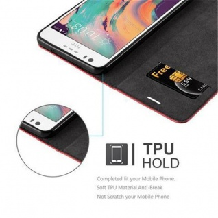 Cadorabo Hülle für HTC Desire 10 LIFESTYLE / Desire 825 in APFEL ROT - Handyhülle mit Magnetverschluss, Standfunktion und Kartenfach - Case Cover Schutzhülle Etui Tasche Book Klapp Style - Vorschau 5